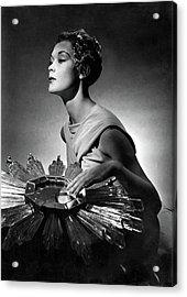 A Model Wearing A Schiaparelli Dress Acrylic Print