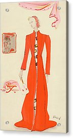 A Model Wearing A Schiaparelli Military Red Coat Acrylic Print by Christian Berard
