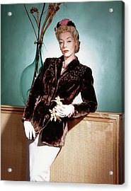 A Model Wearing A Sealskin Jacket Acrylic Print by Horst P. Horst