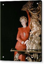 A Model Wearing A Silk Jersey Dress Acrylic Print