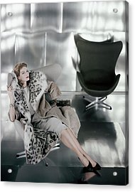 A Model Wearing A Snow Leopard Coat Acrylic Print