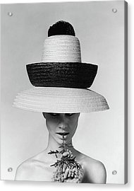 A Model Wearing A Sun Hat Acrylic Print by Karen Radkai