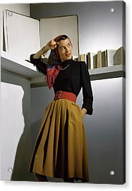 A Model Wearing A Sweater Acrylic Print by Horst P. Horst