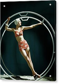 A Model Wearing A Swimsuit In An Exercise Ring Acrylic Print by John Rawlings
