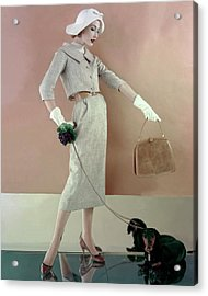 A Model Wearing A Tweed Jacket And Skirt Acrylic Print by Karen Radkai