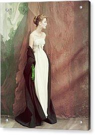 A Model Wearing A White Dress Acrylic Print by John Rawlings
