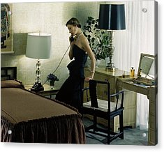 A Model Wearing An Evening Gown On The Telephone Acrylic Print