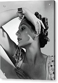 A Model Wearing Black Starr & Frost-gorham Acrylic Print by Horst P. Horst