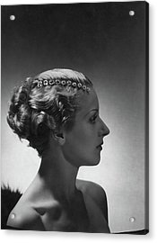 A Model Wearing Cartier Jewelry Acrylic Print by Horst P. Horst