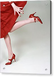 A Model Wearing Fleming-joffe Shoes Acrylic Print by Richard Rutledge