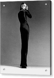 A Model Wearing Halston Acrylic Print by Francesco Scavullo