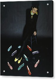 A Model With Footlights Ballet Slippers Acrylic Print by John Rawlings
