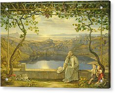 A Monk On A Terrace At The Nemi Lake Acrylic Print by Joachim Faber