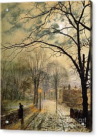 A Moonlit Stroll Bonchurch Isle Of Wight Acrylic Print by John Atkinson Grimshaw