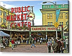 A Morning At Pikes Place Market Acrylic Print by Gary Neiss