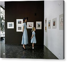 A Mother And Daughter At Moma Acrylic Print