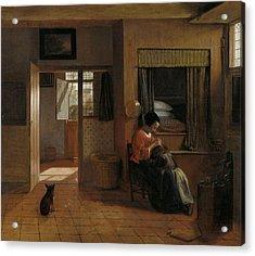 A Mother's Duty Acrylic Print by Pieter de Hooch