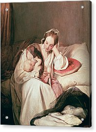 A Mothers Love, 1839 Acrylic Print by Josef Danhauser