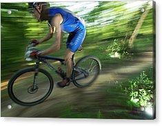 A Mountain Biker Races On A Trail Acrylic Print