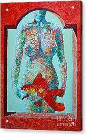 A Muse Came To My Window And Told Me To Paint A Fish Acrylic Print by Ana Maria Edulescu