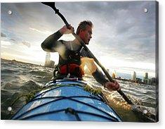 A Nab Sea Kayaks Around Manhattan, New Acrylic Print