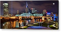 A Nashville Panoramic Night Acrylic Print by Frozen in Time Fine Art Photography