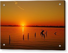 A New Day Dawns... Over Dock Remains Acrylic Print