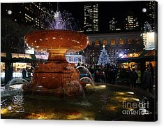 A Night In Bryant Park Acrylic Print by Nicholas Santasier