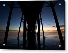 A Ocean Pier At Sunset In California Acrylic Print by Peter Tellone