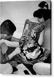 A Oriental Girl Gets Full Tattoo Acrylic Print