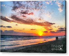 A Painting Of The Sunset At Sea Acrylic Print by Odon Czintos