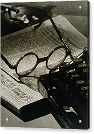 A Pair Of Glasses On Top Of A Newspaper Acrylic Print by Irving Browning