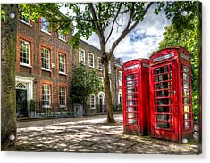 A Pair Of Red Phone Booths Acrylic Print by Tim Stanley