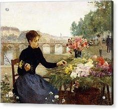 A Parisian Flower Market Acrylic Print by Victor Gabriel Gilbert