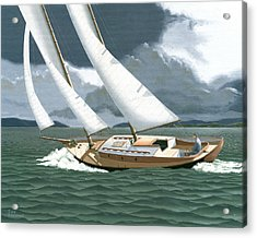 Acrylic Print featuring the painting A Passing Squall by Gary Giacomelli