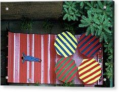 A Patio With Striped Umbrellas Acrylic Print