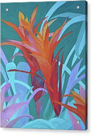 Acrylic Print featuring the painting A Pattern Of Bromeliads by Margaret Saheed