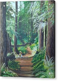 A Peaceful Walk In The Redwoods Acrylic Print by Terry Godinez