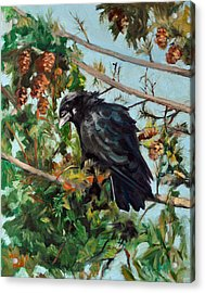 Acrylic Print featuring the painting A Perch For Nevermore by Pattie Wall