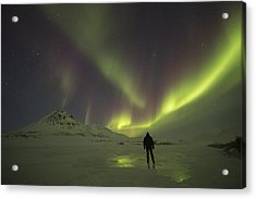 A Person Stands On The Frozen Acrylic Print