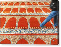 A Person Walking Over The Colourful Acrylic Print by Keith Levit
