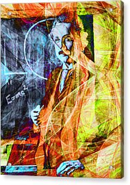 A Person Who Never Made A Mistake Never Tried Anything New - Einstein In Abstract 20140908 Acrylic Print by Wingsdomain Art and Photography