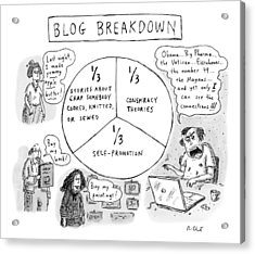 A Pie Chart Titled Blog Breakdown Is Divided Acrylic Print