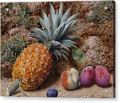 A Pineapple A Peach And Plums On A Mossy Bank Acrylic Print