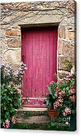 A Pink Door Acrylic Print by Olivier Le Queinec