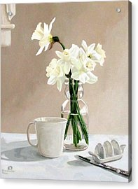 Acrylic Print featuring the painting A Pint Of Daffodils by Sandra Chase