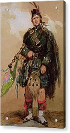A Piper Of The 79th Highlanders At Chobham Camp Acrylic Print