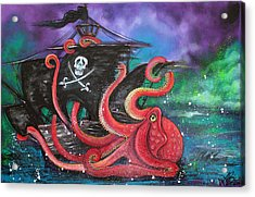 A Pirates Tale - Attack Of The Mutant Octopus Acrylic Print by Laura Barbosa