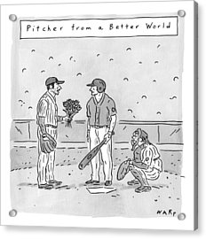 A Pitcher Hands A Batter Flowers Acrylic Print