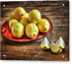 A Plate Of Lemons In The Kitchen Acrylic Print